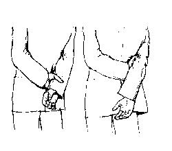 Ձեռքերը ետևում բռնած